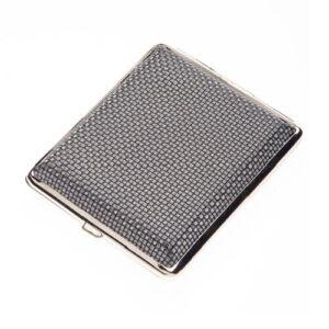 Портсигар S.Quire, сталь+искусственная кожа, черный цвет с рисунком 56435