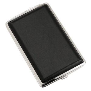 Портсигар S.Quire, сталь+искусственная кожа, черный цвет гладкий 56440