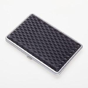 Портсигар S.Quire, сталь+искусственная кожа, черный цвет с рисунком 56438