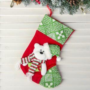"""Носок для подарка """"Подарочек"""" медведь зелёный 47499"""