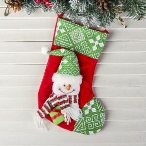 """Носок для подарка """"Подарочек"""" снеговик зелёный 47500"""