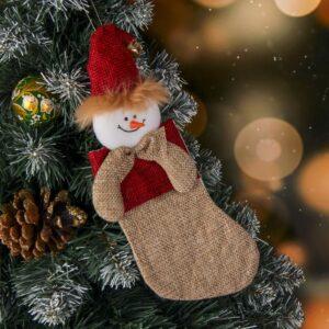 "Носок для подарка ""Забава"" снеговик 47505"