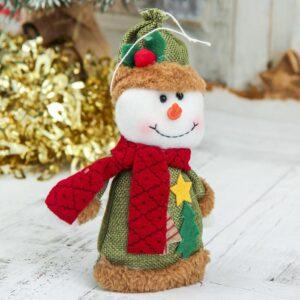 """Мягкая игрушка """"Две ёлочки"""" снеговик 8,5*14 см, зелёный 47520"""