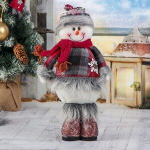"""Мягкая игрушка """"Пушистая клетка"""" снеговик 14*30 см 47522"""