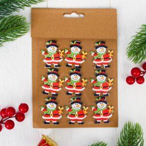 """Новогодний декор-наклейки """"Снеговик"""", набор 9 шт. 51535"""