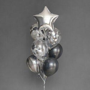 Фонтан из шаров «На стиле», латекс, фольга, 10 шт. (без гелия) 54487