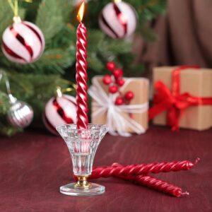 Набор свечей витых 15 см, 3 шт, рубин 47772