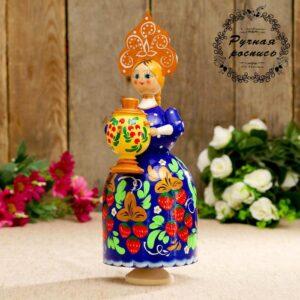 Сувенир музыкальный «Барыня с самоваром», синее платье, золотой кокошник 52652