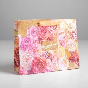 Пакет крафтовый «Поздравляю», 22 × 17,5 × 8 см 55109