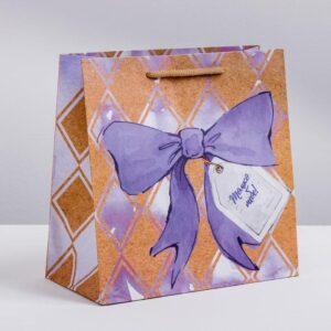 Пакет крафтовый «Сладкая вата», 22 × 22 × 11 см 50374