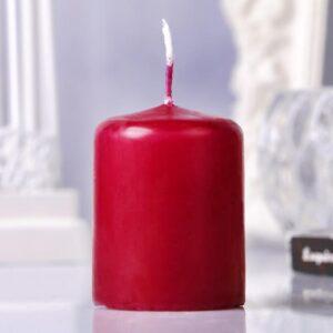 Свеча пеньковая, 4х5см, бордовая 48540