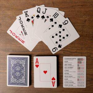 """Игральные карты """"Lewis & Wolf"""" для покера, 54 шт. в колоде, синяя рубашка 55582"""