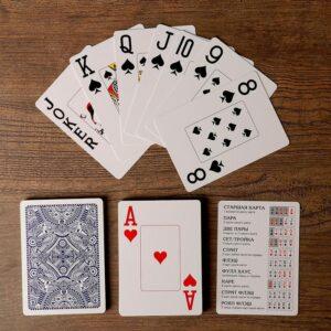 """Игральные карты """"Golem"""" для покера, 54 шт. в колоде, синяя рубашка 55585"""