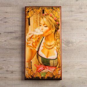 """Нарды """"Я люблю пиво"""", деревянная доска 60х60 см 54871"""