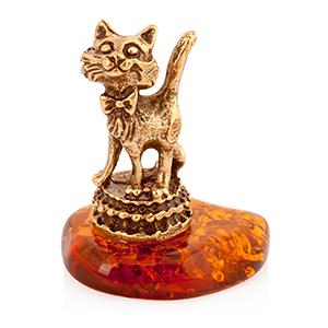 Кошечка с бантиком (янтарь) 39757