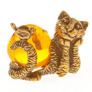 Кот с птичкой (янтарь) 39944