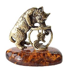 Кот с аквариумом (янтарь) 39945