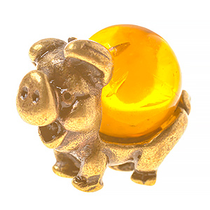 Свинка с шаром (янтарь) 39794