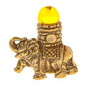 Слон счастливый с башенкой (янтарь) 40064