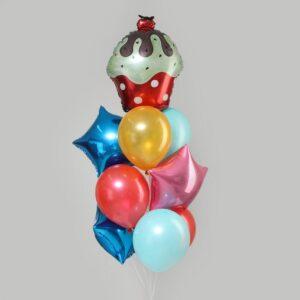"""Букет из шаров """"С днем рождения, торт с вишенкой"""", латекс, фольга, набор 10 шт. 56152"""