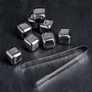 Набор камней для виски с щипцами, 8 шт, 2,5×2,5 см, нержавеющая сталь 56617