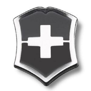 Значок Victorinox 4.1888.3 в форме креста на щите, металлический, чёрно-серебристый
