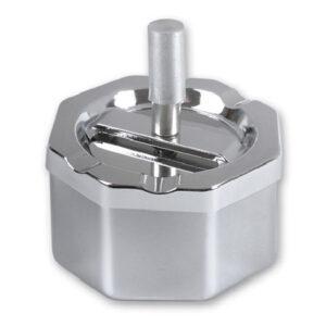 Пепельница S.Quire восьмиугольная, сталь, покрытие никель, серебристый, с серебристой ручкой, 90 мм