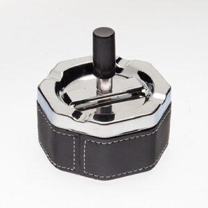 Пепельница S.Quire восьмиугольная, сталь, покрытие никель + искусственная кожа, серебристая с черной