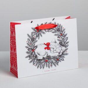 Пакет «Новогодний котёнок», 23 × 18 × 8 см 53907