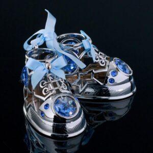 "Сувенир с кристаллами Swarovski ""Детские ботиночки"" хром 7,7х6 см 57228"