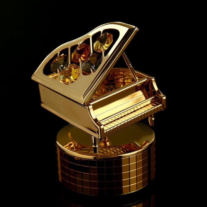 """Музыкальный сувенир с кристаллами Swarovski """"Рояль"""" 10,1х7,1 см 57221"""
