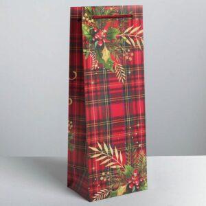Пакет под бутылку крафтовый «С Новым годом!», 13 × 36 × 10 см 50866