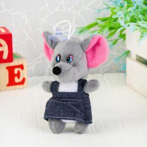"""Мягкая игрушка-присоска """"Мышка в джинсовом платье"""" цвет МИКС 50875"""