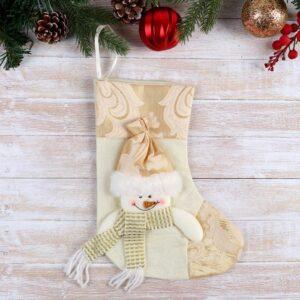 """Носок для подарков """"Ажурный праздник"""" снеговик 51598"""