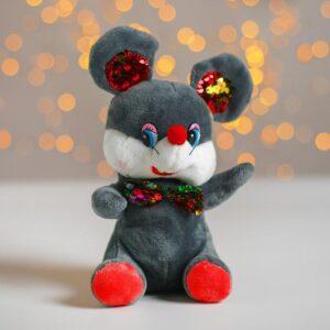 """Мягкая игрушка """"Мышонок в бабочке"""" 16 см, на присоске, пайетки, цвет МИКС 50877"""