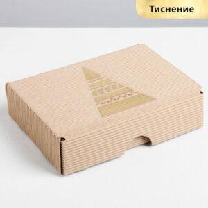 Коробка складная рифлёная «Новогодняя елка», 21 х 15 х 5 см 57728