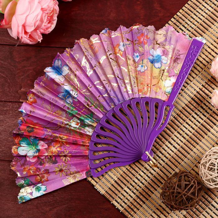 """Веер пластик, текстиль """"Изобилие цветов"""" 22,5 см 56014"""