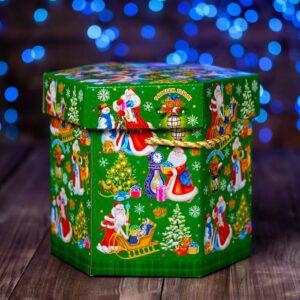 """Подарочная коробка """"Снеговики"""", зелёный 51639"""