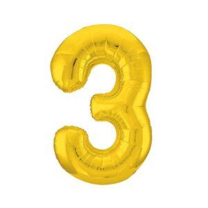 """Шар фольгированный 40"""" «Цифра 3», цвет золотой, Slim 56249"""