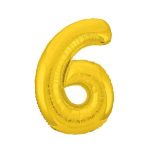 """Шар фольгированный 40"""" «Цифра 6», цвет золотой, Slim 56255"""
