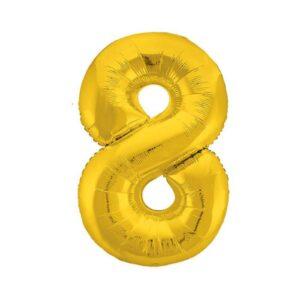 """Шар фольгированный 40"""" «Цифра 8», цвет золотой, Slim 56259"""