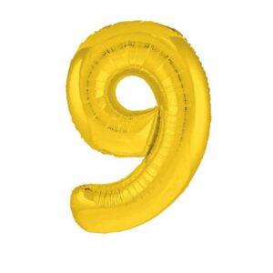 """Шар фольгированный 40"""" «Цифра 9», цвет золотой, Slim 56261"""