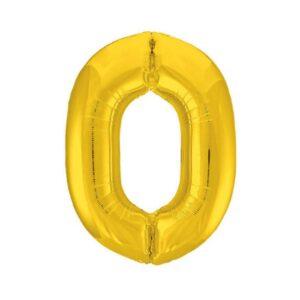 """Шар фольгированный 40"""" «Цифра 0», цвет золотой, Slim 56243"""