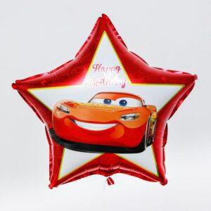 "Фольгированный шар «Happy birthday!», Тачки, на палочке 19"" 56161"