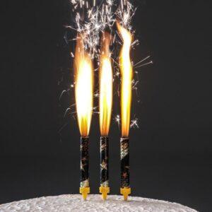 """Набор тортовых свечей 3 шт """"Праздничные фонтаны со звёздами"""" 12,5 см 55249"""