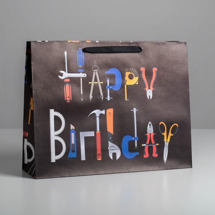 Пакет крафтовый Happy birthday, L 40 × 31 × 11.5 см 57070