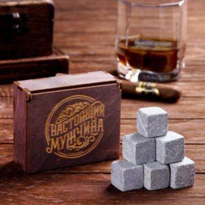 Камни для виски «Настоящий мужчина», в деревянной упаковке, 9 шт 54886