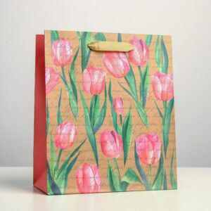Пакет «Тюльпаны», 23 х 27 х 11,5 см 55096