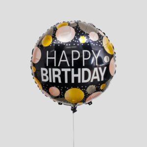 """Шар фольгированный 18"""" «С днём рождения», круги, цвет чёрный 56182"""