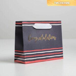 Пакет крафтовый Congratulations, S 15 × 12 × 5.5 см 57069